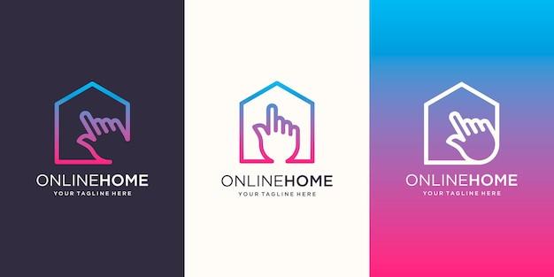 온라인 홈 로고 디자인 템플릿입니다. 커서와 결합된 집.