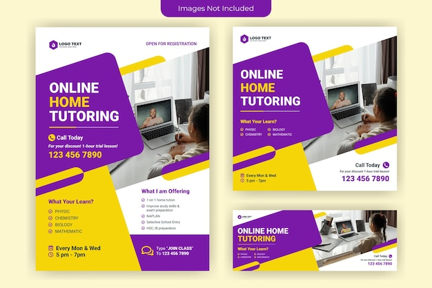 Online home tutoring flyer and social media banner template design