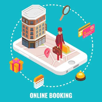 Online hotel booking concept vector. flat isometric illustration. hotel building and doorman with luggage on smartphone screen.