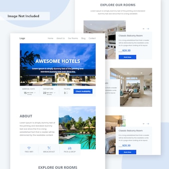 Online hotel booking landing page .
