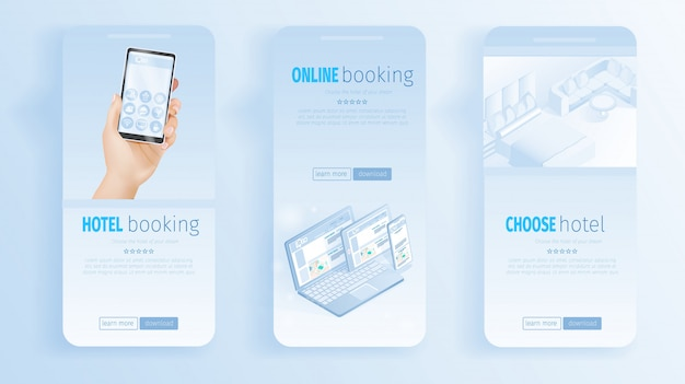 Online hotel booking room banners illustration