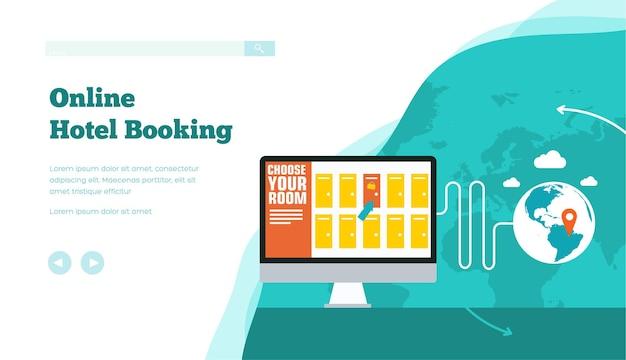 온라인 호텔, 객실, 티켓 예약, 숙박, 휴가 개념 계획.