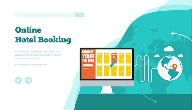 Online hotel, room, ticket reservation, accommodation, planning of vacation concept.