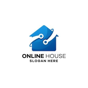 オンラインハウスグラデーションロゴテンプレート