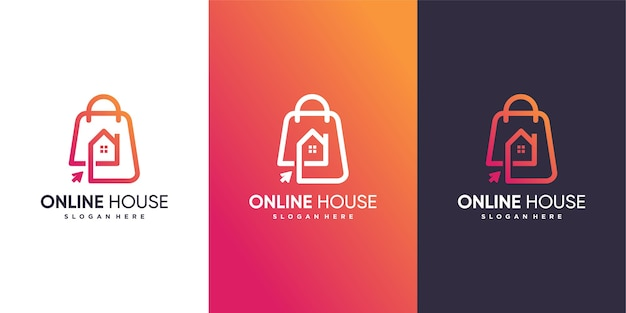 Шаблон логотипа онлайн-дома с современной концепцией