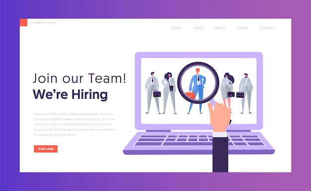 Online hr best candidate concept landing page. businessman looking candidate. hand with magnifier select person from group of people on laptop website or web page. flat cartoon vector illustration