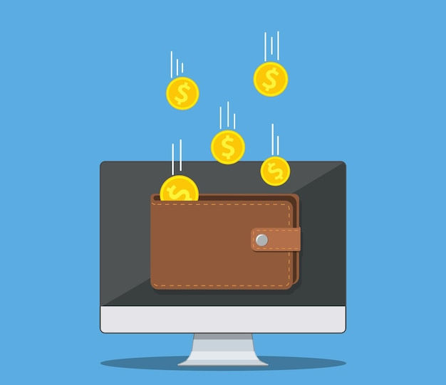 Online income money in electronic wallet. golden coins flying in wallet on computer pc, financial success, digital wealth. vector illustration in flat style
