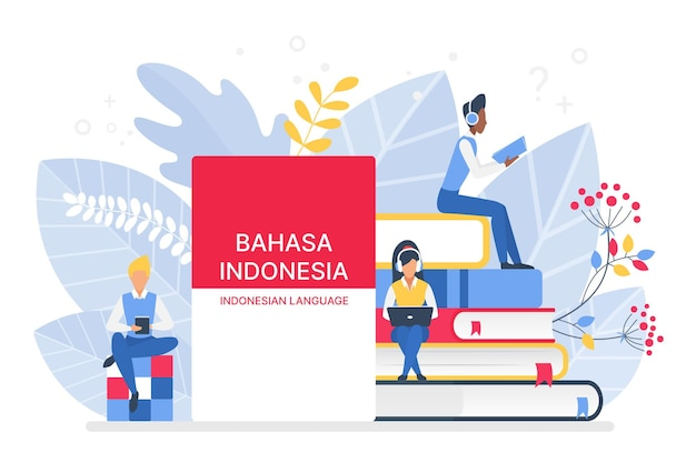 Online indonesian language courses remote school or university concept
