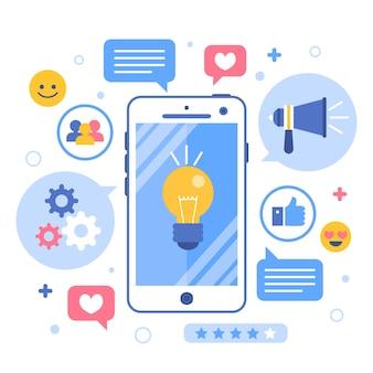 온라인 혁신 및 브레인 스토밍 마케팅 휴대폰 개념