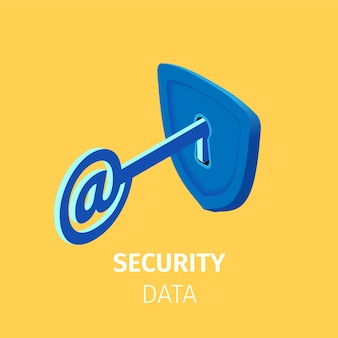Online internet security. key with at sign in lock