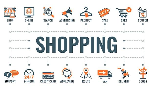 온라인 인터넷 쇼핑 가로 배너에는 두 가지 색상의 평면 아이콘 상점, 배달, 판매 및 상품이 있습니다. 타이포그래피 개념입니다. 고립 된 벡터 일러스트 레이 션