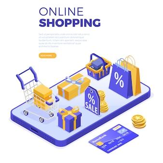 Интернет-магазины изометрической концепции со смартфоном, сумками и тележкой для покупок