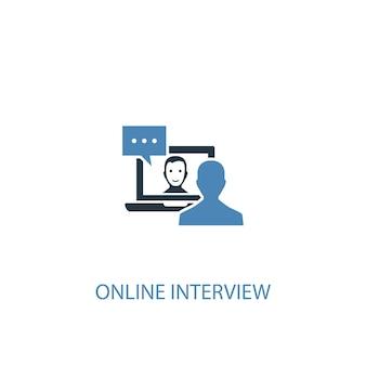 Интернет-интервью концепции 2 цветной значок. простой синий элемент иллюстрации. дизайн символа концепции онлайн-интервью. может использоваться для веб- и мобильных ui / ux