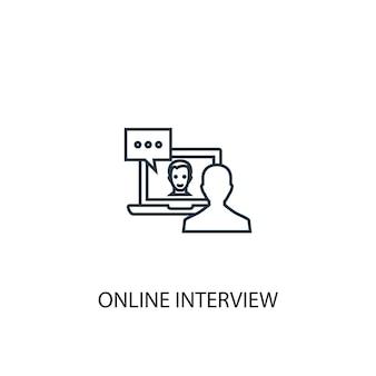 Значок линии концепции онлайн-интервью. простая иллюстрация элемента. концепция онлайн-интервью наброски символа дизайна. может использоваться для веб- и мобильных ui / ux