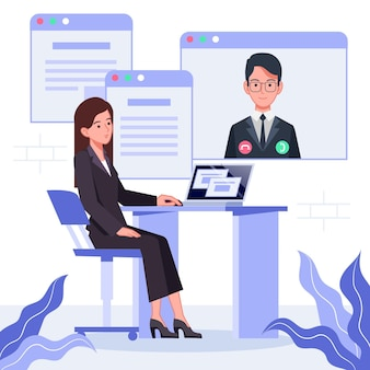Online interview between employee and employer