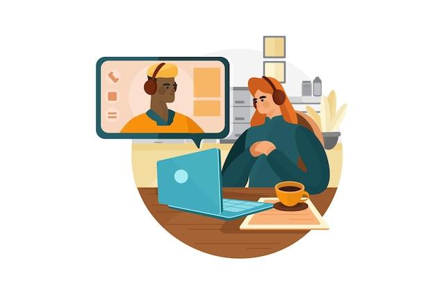 Концепция иллюстрации онлайн-интервью