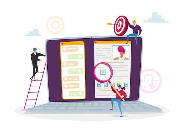 온라인 인터뷰, 작업 설명, 채용 헤드헌팅 개념
