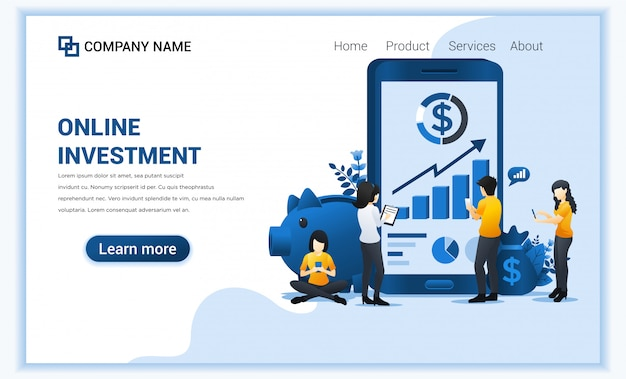 Online investment concept with people work on mobile phone, business investment, financial technology.