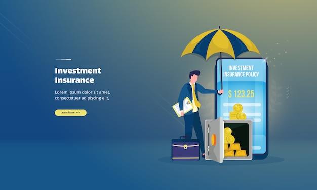 Страхование инвестиций онлайн на иллюстрации концепции