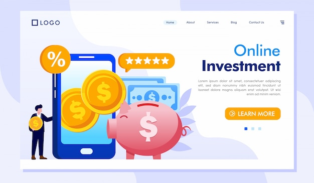 Online investment landing page website illustration vector