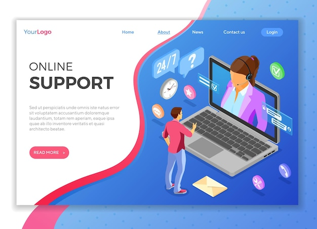 Online isometric customer support concept. mobile call center with female consultant, headset, laptop, chat icons. landing page template. isolated vector illustration