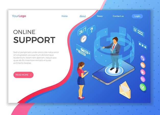 Online isometric customer support concept. mobile call center with man consultant, headset, rating, chat icons, mobile phone. isometric people. landing page template.