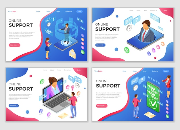 Online isometric customer support landing web page templates