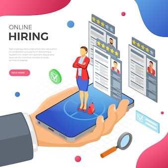 Online isometric employment, recruitment and hiring concept. internet job agency human resources. hand with smartphone, job seeker and resume. isometric people. isolated