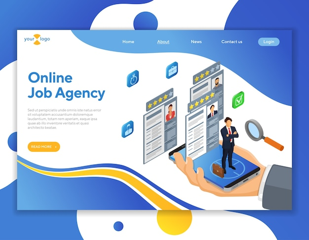 Online isometric employment, recruitment and hiring concept. internet job agency human resources. hand with smartphone, job seeker and resume. landing page template.
