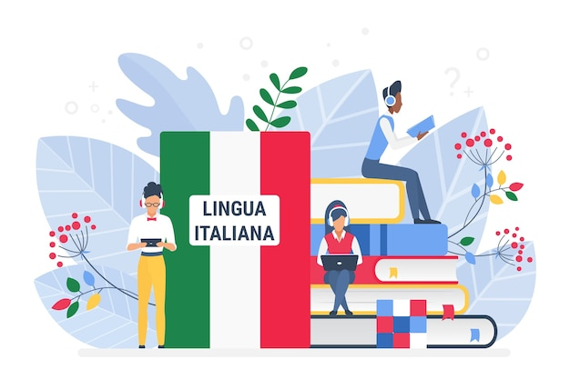 Online italian language courses, remote school or university concept