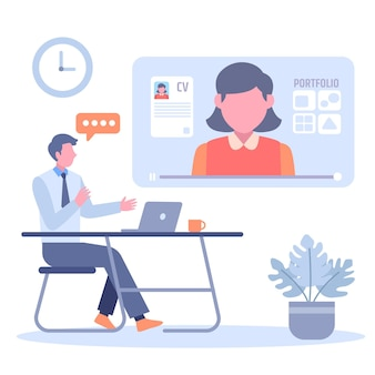 Online job interview concept