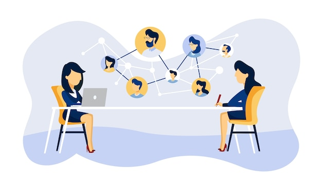 Online job interview. human resources manager looking for a job candidate in the internet. recruitment concept.   illustration