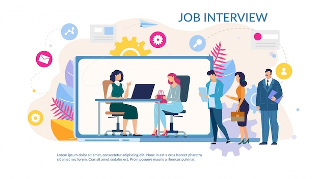 Online job interview service trendy flat template