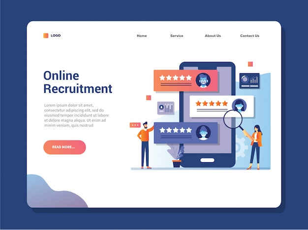 Online job search and human resource, recruitment concept. we are hiring. landing page.
