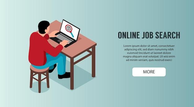 机のイラストに座っている男性キャラクターとのオンライン就職活動