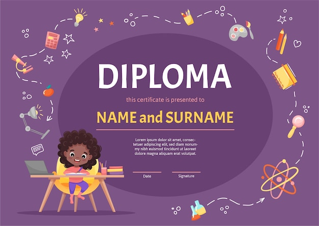 Online kids diploma for kindergarten or elementary preschool with a cute black girl with curly dark hair making her homework on background with hand-drawn elements.  cartoon illustration