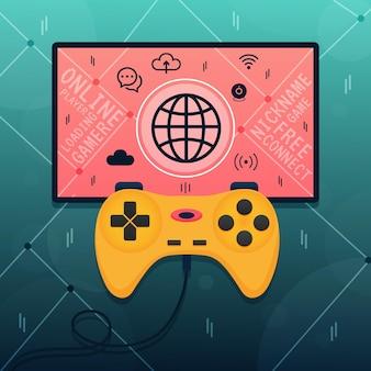 Concetto di videogiochi online e lan