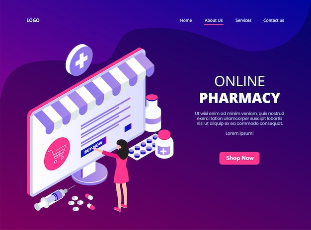 Online landing page of online pharmacy