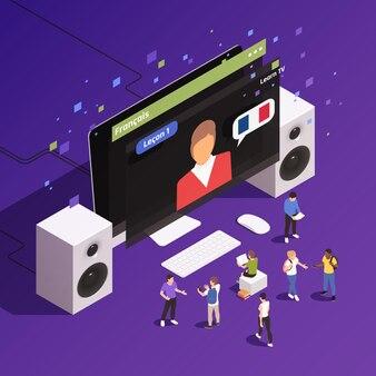 デスクトップモニターでフランス語の家庭教師とネイティブスピーカーの等角組成によって声を出すオンライン言語クラス