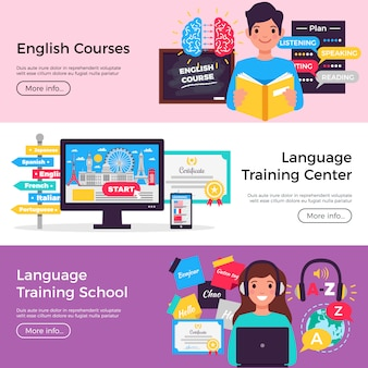 Online language courses banner collection