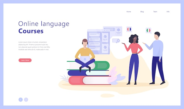 Online language courses concept web banner illustration