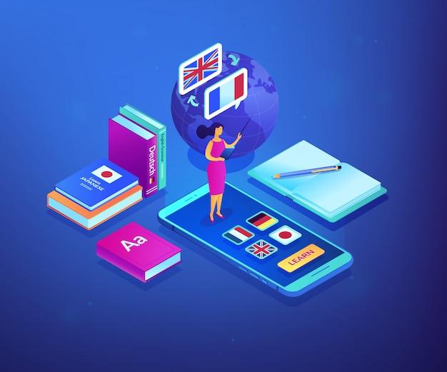 Online language school isometric 3d concept illustration.