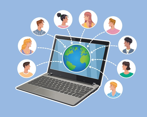 Online laptop notebook connecting people avatar around the world vector flat vector illustration