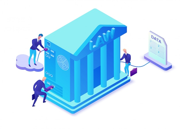 Online lawyer service isometric 3d illustration