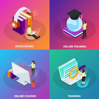 Online learning 2x2 design concept set of online courses online training audio books  square glow icons isometric