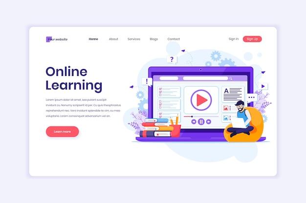 オンライン学習 自宅のイラストでオンラインビデオを学習するラップトップを持つ男性