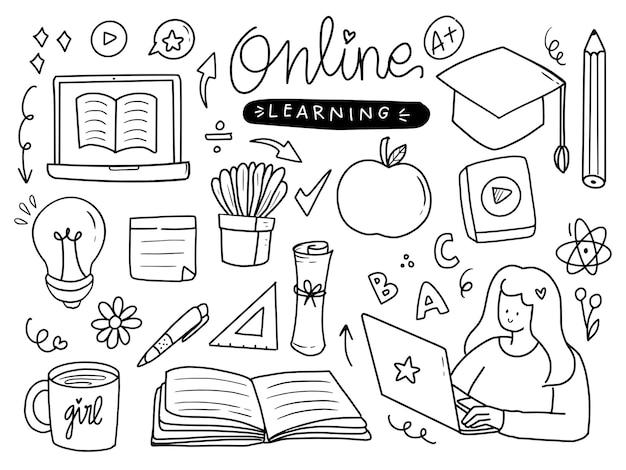 선 스타일로 설정된 온라인 학습 및 홈 스쿨링 스티커 프리미엄 벡터