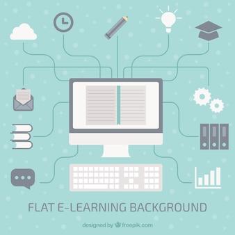 フラットデザインのオンライン学習の背景