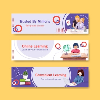 Online learning banner template design for website, advertise watercolor