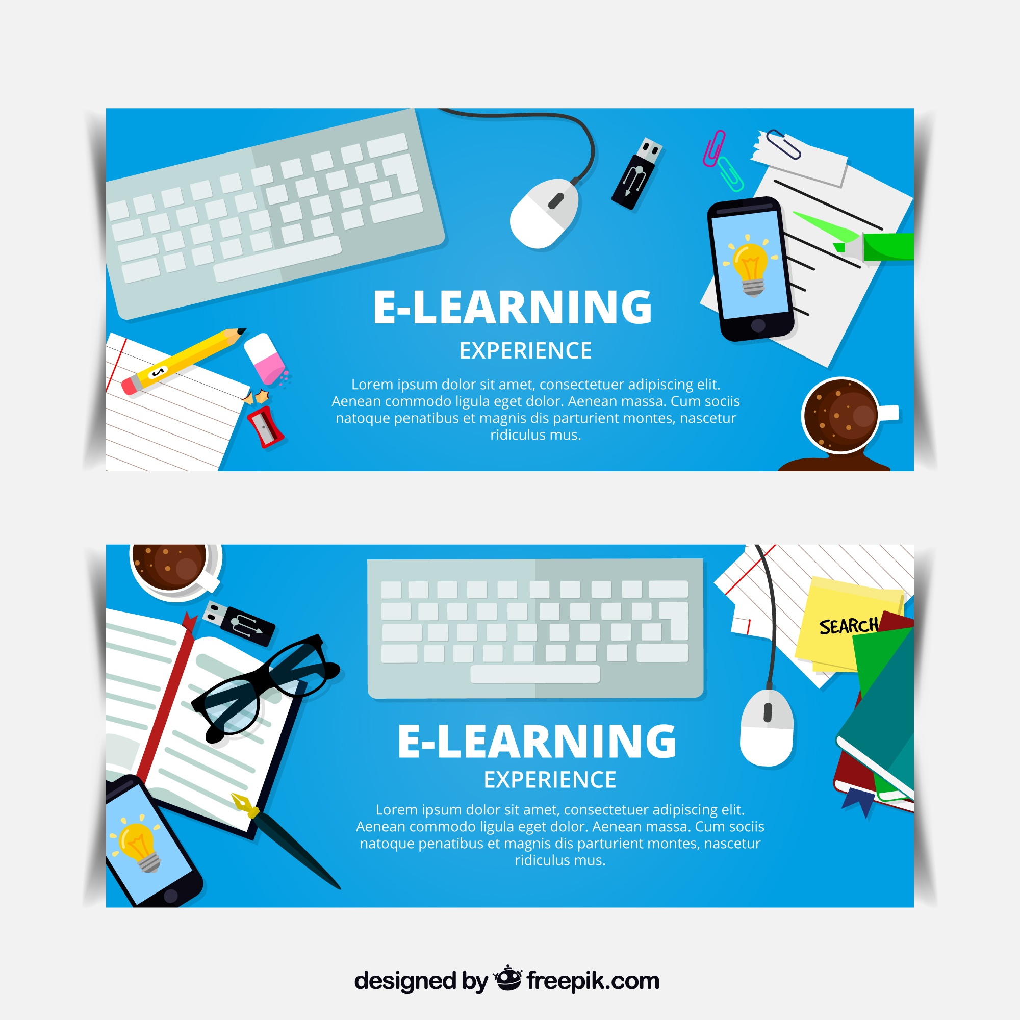 Online Learning Banners With Decorative Items Vector Free Vector Graphics